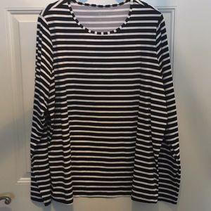 Lands End 1X striped swim tee rash guard LS shirt!